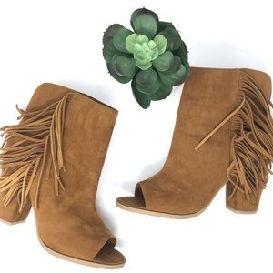 DV by Dolce Vita open toe fringe booties